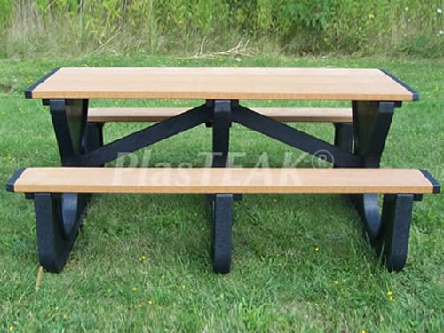 WalkThrough Ft Picnic Table PlasTEAK Inc - Picnic table recycled plastic lumber