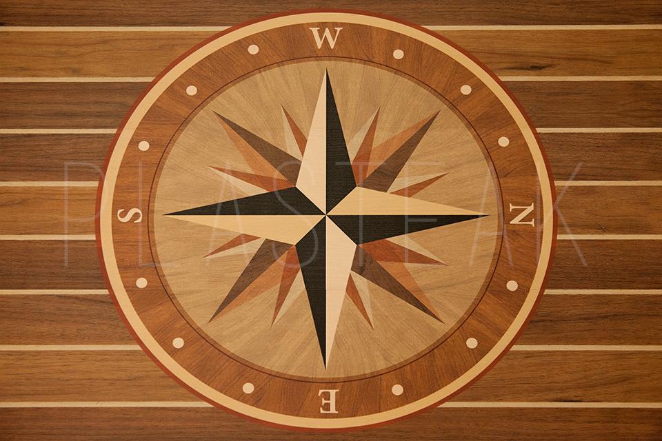 Compass Rose Kit Teak Holly Lines Plasteak Inc